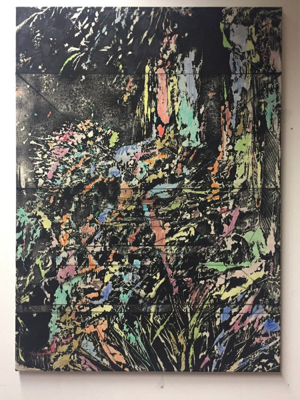Michi Lukas, Garden Black, 2016, 90x125cm, Oil and aquarell-stick on dyed canvas