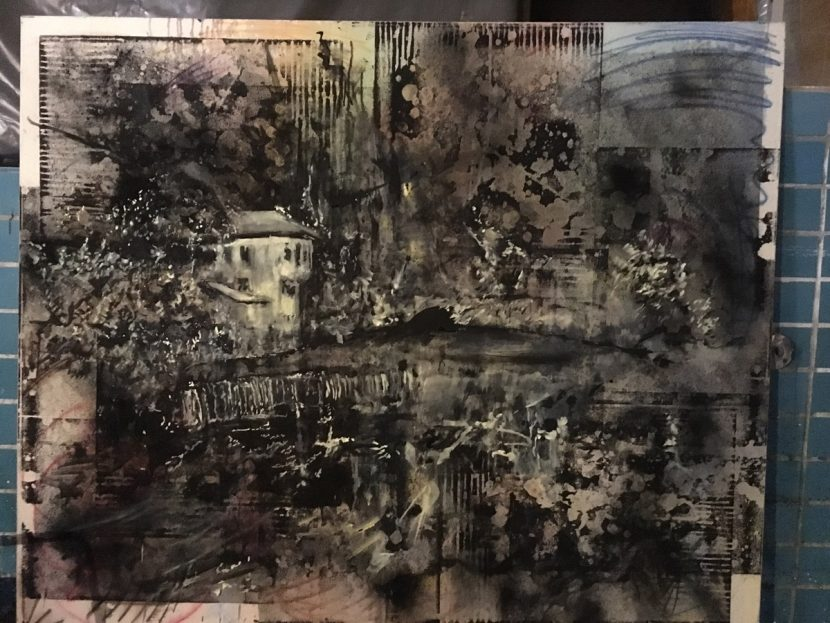 Michi Lukas, Source, 2016, 165x200cm, Oil and aquarell-stick on canvas