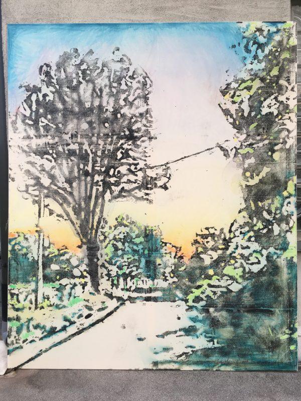 Michi Lukas, Sunrise, 2017, 240x200cm, Oil and aquarell-stick on canvas