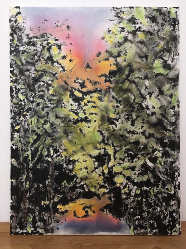 Michi Lukas, Forest1, 2017, 80x60cm, Oil and aquarell-stick on canvas