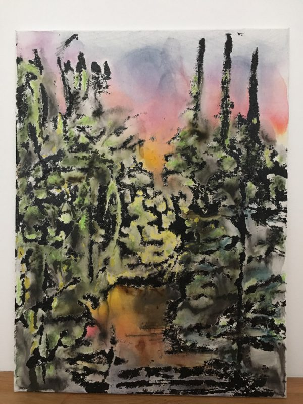 Michi Lukas, Forest2, 2017, 80x60cm, Oil and aquarell-stick on canvas
